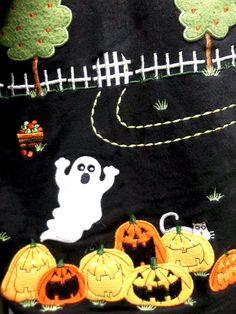 Halloween Cardigan Jacket Zip Shirt Black Ghost Pumpkin JackOLantern Medium Cute #OnQue #ZipShirtJacket #Halloween #Ghosts #JackOLanterns #AppleTrees #Cardigan