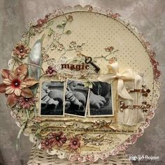 bow, flowers, hinges, key, scallop, scrap pages, scrapbook, scrapbook page, scrapbooking, vintage