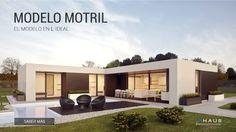 Estilosa y práctica. El modelo Motril de inHAUS no deja indiferente a nadie. Vivienda modular minimalista y en una planta. El más puro estilo Ibicenco.