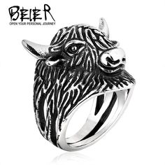 Beier new store 316L Stainless Steel ring high quality New Animal Sheep Ring For Men Stainless Steel Fashion Punk LLBR8-253R #Affiliate
