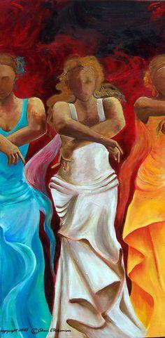 Flamenco dancers painting art print on paper by SherisArtStudio, $35.00 #paintings by Sharareh #www.sherisartstudio.com