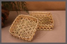 19cm Hand making a double square storage basket bamboo dustpan fruit bowl bamboo frames Cesta de aperitivos Postre fruit dish