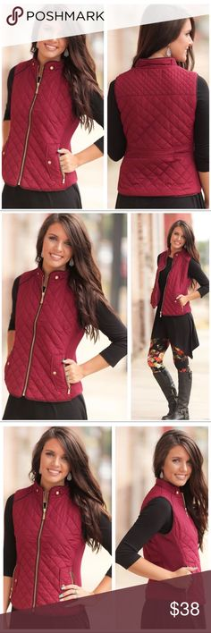"Burgundy Quilted Vest 🔛Point! It's all the rage this season. Burgundy Quilted zipper vest. 100% Polyester. Bust (S) 17"" (M) 18"" (L) 19"" Length (S) 22"" (M) 23"" (L) 24"" Boutique Jackets & Coats Vests"