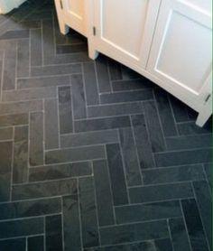 Grey Slate Bathroom, Brick Tiles Bathroom, Grey Slate Tile, White Marble Bathrooms, Grey Floor Tiles, Gray Bathrooms, Entry Tile, Herringbone Tile Floors, Slate Flooring