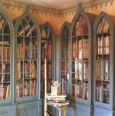 arched bookcases  I prefer not to have my books behind doors. Yarn storage maybe? Love the gothic style.