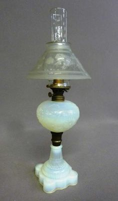 Lot: Mid 19th Century Opalescent Oil Lamp with 1870's Cut, Lot Number: 0369, Starting Bid: $20, Auctioneer: Jay Anderson Auction, Auction: Jay Anderson Antiques & Fine Lighting Auction, Date: January 13th, 2018 EST