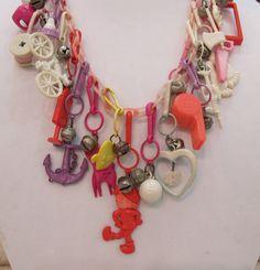 Vintage 80s plastic charm necklace