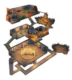 Lair with fighting/dog fighting pit.