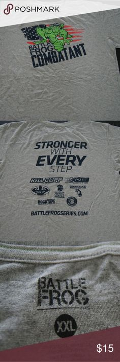 """MEN'S GRAY BATTLE FROG T-SHIRT SIZE """"XXL"""" - Imported.  - 50% Polyester/ 50% Cotton.  - Comfortable.  - Ideal to wear with jeans or shorts.  - Good condition.  - Excellent price.  - Great purchase choice.   """"NEW WITHOUT TAGS"""" Battle Frog Shirts Tees - Short Sleeve"""