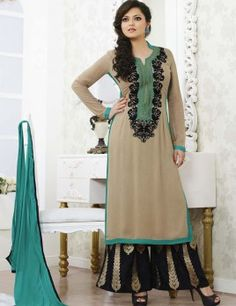 Drashti Dhami Cream Long Plazzo Suit With Lace Work