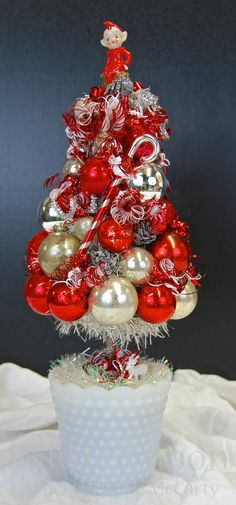 """""""Peppermint Paddy"""" Topiary ©Glittermoon Vintage Christmas"""