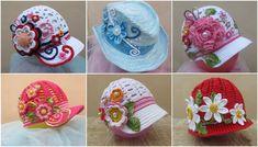 kız çocukları için 24 farklı çiçekli örgü şapka modeli