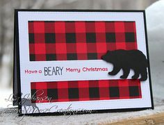 A bear backed by red buffalo check paper helps spread Christmas cheer on this fun Christmas card! The sentiment across the front reads Have a Beary Merry Christmas. Its the perfect greeting for the bear or wildlife lover in your life! The inside is left blank for your own