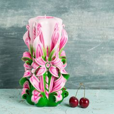 Christmas Eve 2016, Carved candle, Pink and Green candle, Сочельник 2016, Candle carving, Candle making, DIY Christmas candles, Hanukkah Buy this special gift for Mother's Day. Use coupon code MOMDISC2017 for 10% off. http://EveArtCandles.etsy.com  #carved #candle #decorative #christmas #gift #idea #wedding #birthday #mothersday