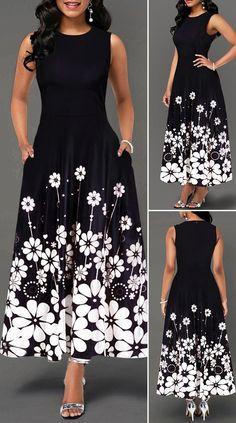 Miaohao Womens Retro Printing Casual Long Sleeve Lapel Collar Party Maxi Dress