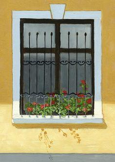 Geraniums by Karyn Robinson Geraniums, Art For Sale, Original Art, Outdoor Structures, Flower Paintings, Balconies, Artist, Flowers, Windows