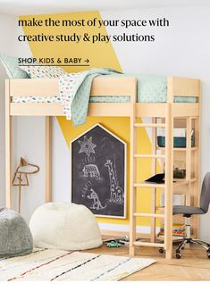 Shop baby & kids Teen Furniture, Small Furniture, Furniture Decor, Kids Workspace, Oversized Furniture, Twin Bunk Beds, Boys Loft Beds, California King Bedding, Built In Desk