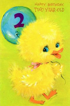 Vintage Birthday Card Yellow Duckling For two/ 2 Year Old Child 1960's