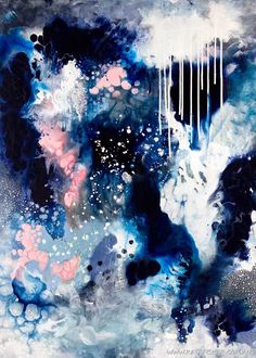 """Dance In The Rain"" Original abstract artwork by Australian artist Kate Fisher in moody blues, navy, white and a touch of blush. High quality giclee art prints available."