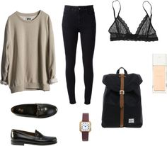 57 by daisygrant featuring eberjey bras ❤ liked on Polyvore STELLA McCARTNEY black high waisted jeans, $220 / Eberjey bra / American Apparel shoes / Herschel bag, $89 / Cartier vintage bracelet /...