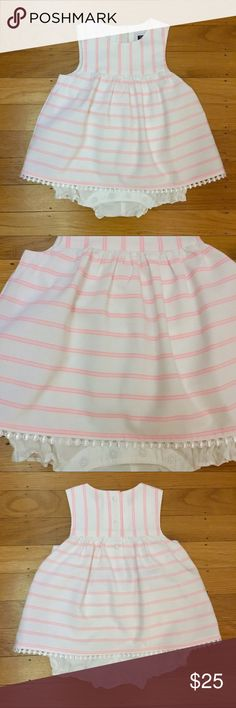 Janie and Jack Neon Stripe baby outfit Hot pink and white stripe baby romper dress with built in bloomer bottom like a one piece.  NWOT.  Perfect for Easter!! Janie and Jack Dresses