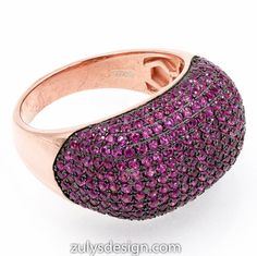 ZDR2046R-RG STERLING SILVER 925 ROSE GOLD PLATED RUBY COLOR CZ RING