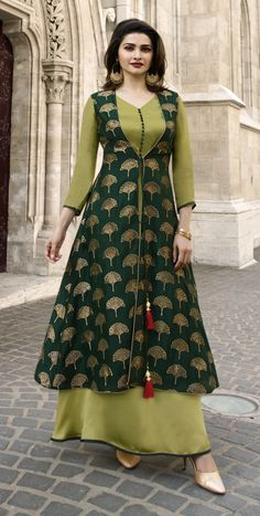 Fashion and trend will be on the peak of your elegance the moment you dresses this TV Actress Prachi Desai Dark Green Color Jacquard Silk Ready Made Kurtis Party Wear Maxi Dresses, Designer Party Wear Dresses, Indian Designer Outfits, Party Wear Indian Dresses, Party Wear Kurtis, Indian Designers, Wedding Dresses, Salwar Designs, Kurta Designs Women