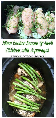 Slow cooker lemon & herb chicken with asparagus recipe - this healthy crockpot recipe looks delicious!Slow cooker lemon & herb chicken with asparagus recipe - this healthy crockpot recipe looks delicious! Slow Cooker Lemon Chicken, Lemon Herb Chicken, Lemon Chicken With Asparagus, Asparagus Recipe, Chicken Cooker, Chicken Asparagus Crock Pot Recipe, Meals With Asparagus, Chicken Recipes, Slow Cooked Meals