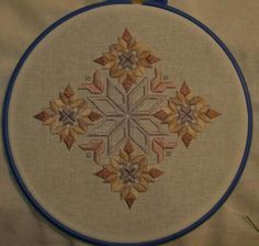 Love the use of autumn colors on this hardanger piece.
