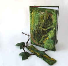 Felted journal notebook cover  Green moss autumn fall  by galafilc, $24.00