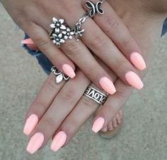 nice Bright pink coffin shaped nails for summer!...