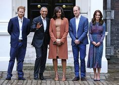 The Duke and Duchess of Cambridge, the Obamas and Prince Harry posed for photos on the ste...