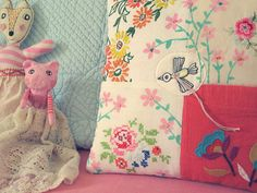 Pillow with a little bird by LedannaPatchwork on Etsy