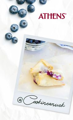 Light, flaky and full of gooey goodness, these blueberry goat cheese phyllo turnovers use only four ingredients and are easy to make for any occasion! Heart Healthy Recipes, Healthy Foods, Blueberry Goat Cheese, Phyllo Recipes, Athens Food, 5 Ingredient Recipes, Phyllo Dough, Food Reviews, Peanut Butter Cups