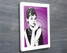 Audrey Hepburn Purple Canvas Print from $26.00. This unique canvas print features the retro looking pop art of the Hollywood icon Audrey Hepburn which is available in a variety of great colours. As with all art on this site, we offer these prints as stretched canvas prints, framed print, rolled or paper print or wall stickers / decals. http://www.canvasprintsaustralia.net.au/  #PhotosoncanvasAustralia #Stretchedcanvas #Gicleeprint