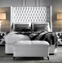 A White Bedroom Finished With Gloss Furniture And Headboard Find Much More Of Our Valentina Collection