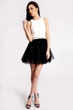 Boutique Tessa Lace Bodice Tutu Skirt Prom Dress at boohoo.com