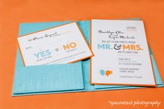 teal and orange wedding invitations by hip ink, eyecontact photography