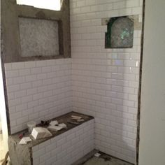 white subway tile shower wall - Google Search