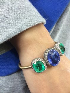 Theodoros sapphire and emerald bangle