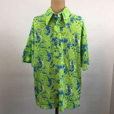 187c0b98955f73 Vintage Lilly Pulitzer Mens Stuff Sz L Palm Springs Polo Neon Green Blue  Lion SS #