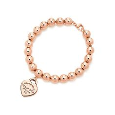 Return to Tiffany® Bead Bracelet ($3,300) ❤ liked on Polyvore featuring jewelry, bracelets, 18k jewelry, rose gold bangle, red gold jewelry, 18 karat gold jewelry and beading jewelry