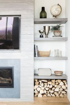 Kitchen Living Rooms Open Shelf Styling, Mountain Home - Today we're sharing photos from the main floor of our Promontory Project! Fireplace Shelves, Fireplace Built Ins, Home Fireplace, Fireplace Surrounds, Fireplace Design, Gas Fireplaces, Fireplace In Living Room, Linear Fireplace, Shiplap Fireplace