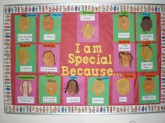 I Am Special Because Bulletin Board - Great for Pre-K Complete Preschool… All About Me Eyfs, All About Me Topic, All About Me Crafts, All About Me Art, Preschool Bulletin, Preschool Themes, Preschool Activities, Preschool Color Theme, Preschool Boards