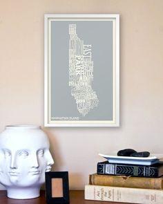 Copious: Manhattan Island Neighborhood Type Map - 11x17 Modern Art Print