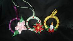 3xSuspensions de Noël/Décoration de sapin en ruban en satin/Kanzashi/Lot18 : Accessoires de maison par vosrevesbrodes