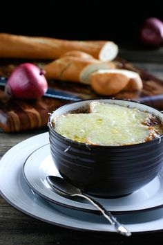 "French Red Onion Soup - in Australia we call red onions ""Spanish Onions"" which would make this French Spanish Onion Soup - lol"