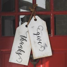 Reclaimed Wood Give Thanks Tags