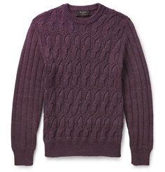 Berluti Cable-Knit Mélange-Cotton Sweater