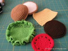 Crochet Hamburger. Super Easy! No pattern, but simple enough to re-create from pix